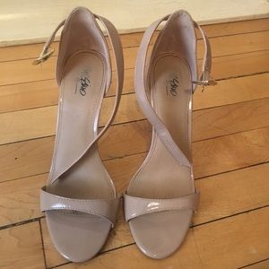 Nude Open Toe Ankle Strap High Heels